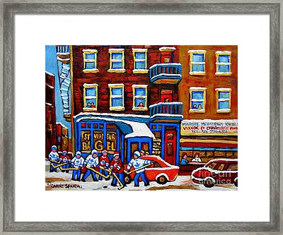 St Viateur Bagel With Hockey Montreal Winter Street Scene Framed Print by Carole Spandau