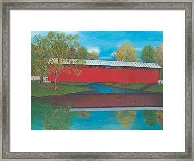 Staats Mill Covered Bridge Framed Print by TJ Word