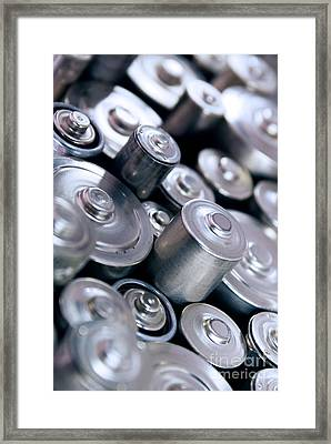 Stack Of Batteries Framed Print by Carlos Caetano