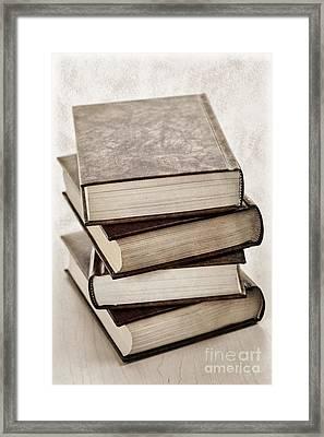 Stack Of Books Framed Print by Elena Elisseeva