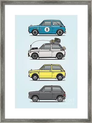 Stack Of Honda N360 N600 Kei Cars Framed Print by Monkey Crisis On Mars