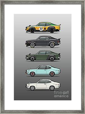 Stack Of Mazda Savanna Gt Rx-3 Coupes Framed Print by Monkey Crisis On Mars
