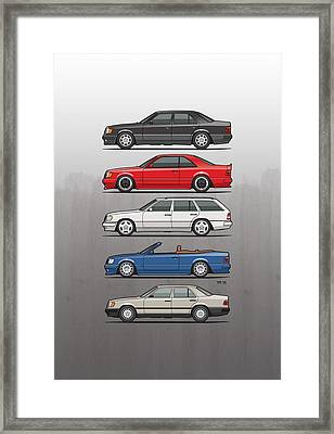 Stack Of Mercedes Benz W124 E-class Framed Print by Monkey Crisis On Mars