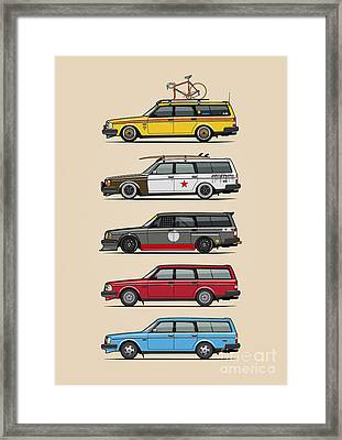 Stack Of Volvo 200 Series 245 Wagons Framed Print by Monkey Crisis On Mars