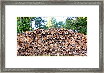 Stack Of Wood Framed Print by Lanjee Chee