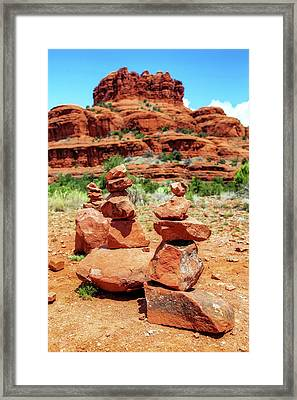 Stacked Rocks At Bell Rock In Sedona Framed Print by Susan Schmitz