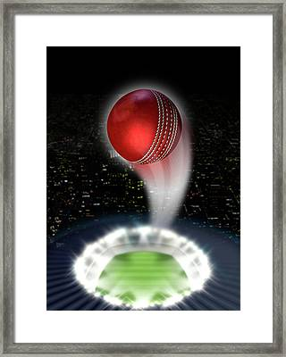 Stadium Night With Ball Swoosh Framed Print by Allan Swart