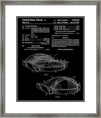 Stadium Patent - Black Framed Print by Finlay McNevin