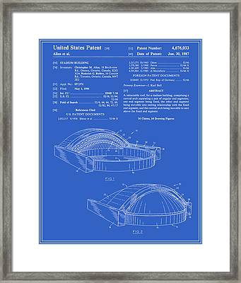 Stadium Patent - Blueprint Framed Print by Finlay McNevin