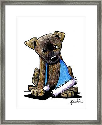 Staffordshire Bull Terrier Brindle Pup Framed Print by Kim Niles