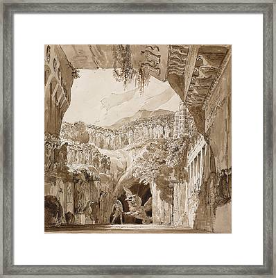 Stage Design With A Man Fighting A Dragon In A Cave  Framed Print by Lorenzo Quaglio