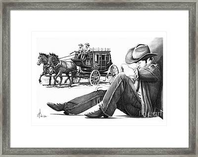 Cowboy Pencil Drawings Framed Print featuring the drawing Stagecoach And Cowboy by Murphy Elliott