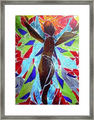Stained Glass Angel Framed Print by Laura  Grisham