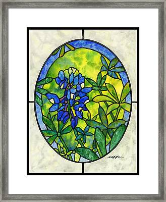 Stained Glass Bluebonnet Framed Print by Hailey E Herrera