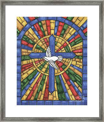 Stained Glass Cross Framed Print by Debbie DeWitt