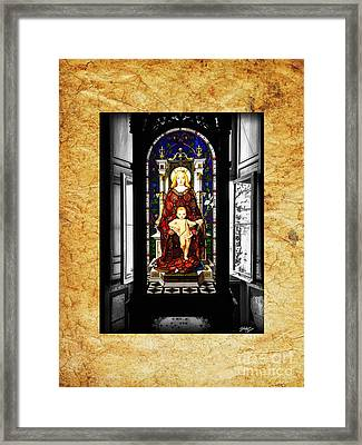 Stained Glass Window Of Madonna And Child Framed Print by Stefano Senise