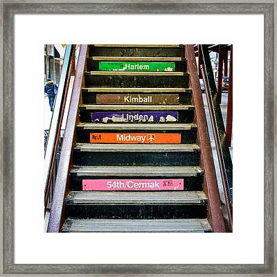 Stairs To The Chicago L Framed Print by Anthony Doudt