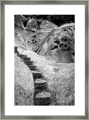 Stairways To The Kiva Framed Print by Sandra Bronstein