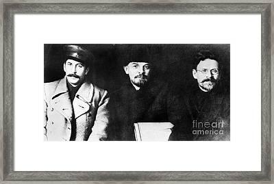 Stalin, Lenin & Trotsky Framed Print by Granger