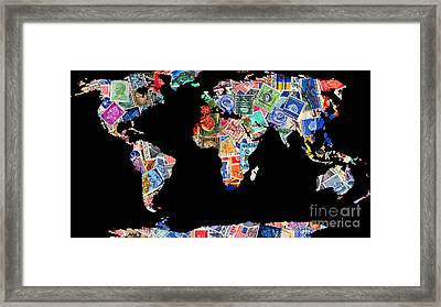 Stamps Of The World Map . V1 Framed Print by Wingsdomain Art and Photography