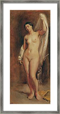 Standing Female Nude Framed Print by Theodore Chasseriau