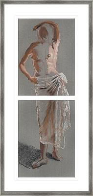 Standing Figure-diptych Framed Print by Gideon Cohn