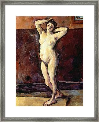 Standing Nude Woman Framed Print by Cezanne