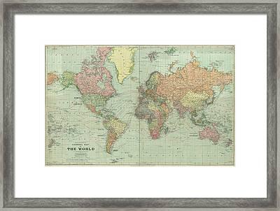 Stanford World Map 1922 Framed Print by Daniel Hagerman