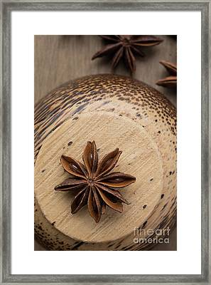 Star Anise On Wooden Bowl Framed Print by Edward Fielding