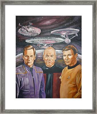 Star Trek Tribute Enterprise Captains Framed Print by Bryan Bustard
