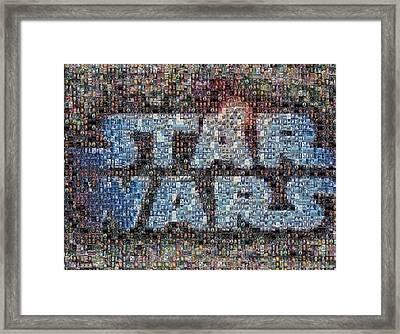 Star Wars Posters Mosaic Framed Print by Paul Van Scott