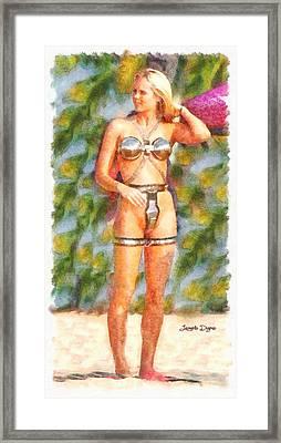 Star Wars Sex Slave  - Watercolor Style -  - Da Framed Print by Leonardo Digenio