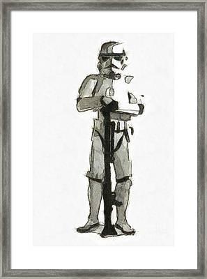 Star Wars Storm Trooper Pencil Drawing Framed Print by Edward Fielding