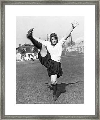 Star Woman Soccer Player Framed Print by Underwood Archives