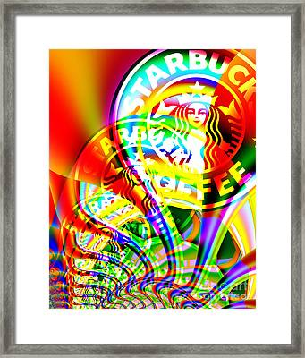 Starbucks Coffee In Abstract Framed Print by Wingsdomain Art and Photography