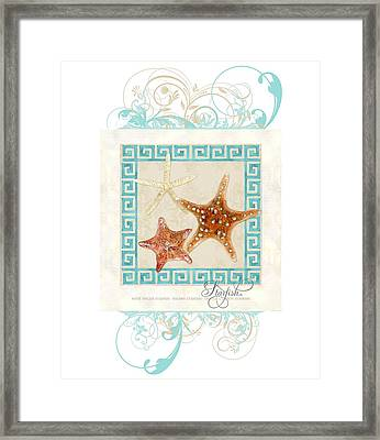 Starfish Greek Key Pattern W Swirls Framed Print by Audrey Jeanne Roberts