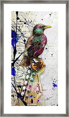Starling On A Strat Framed Print by Gary Bodnar
