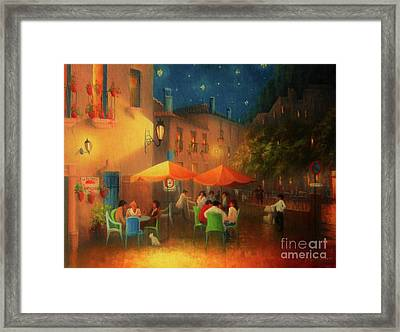 Starry Night Cafe Society Framed Print by Joe Gilronan