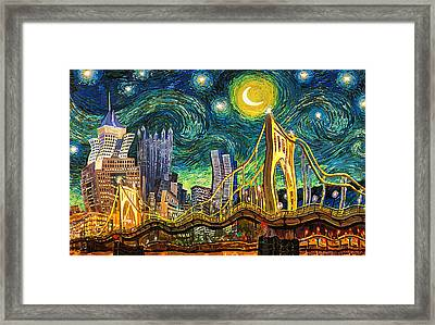 Starry Night In Pittsburgh Framed Print by Frank Harris