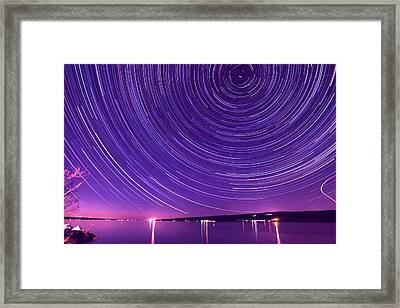 Starry Night Of Cayuga Lake Framed Print by Paul Ge