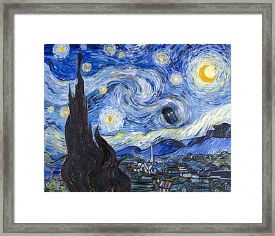 Starry Night With Tardis Framed Print by Theresa Pisani