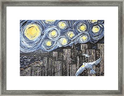 Starry Nights In San Francisco 1985 Framed Print by Wingsdomain Art and Photography
