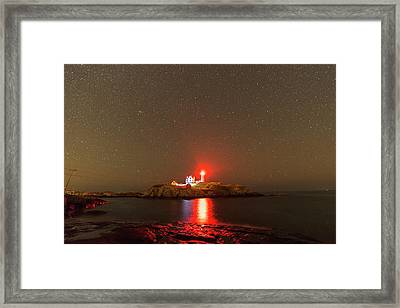 Starry Sky Ove Nubble Light Cape Neddick York Me Red Light Framed Print by Toby McGuire