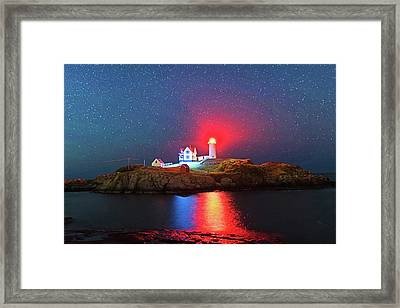 Starry Sky Ove Nubble Light Cape Neddick York Me Framed Print by Toby McGuire