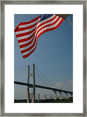 Stars And Stripes In Savannah Framed Print by Suzanne Gaff