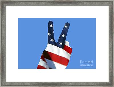 Stars And Stripes Peace Sign .png Framed Print by Al Powell Photography USA