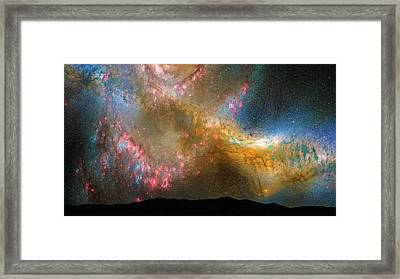 Stars In The Night Sky Milky Way And Andromeda Galaxy Framed Print by Matthias Hauser
