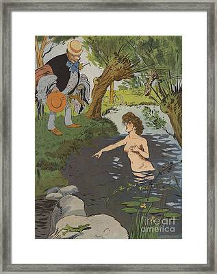 Startled Bather Framed Print by Leonce Burret