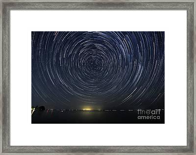 Startrails Around Polaris Framed Print by Charline Xia
