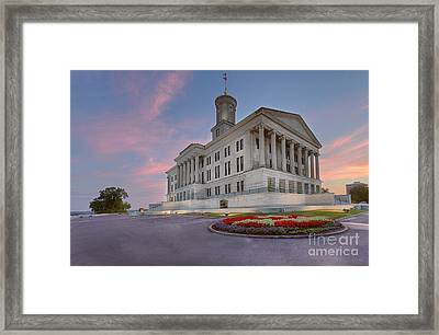 State Capital Building Of Nashville Tennessee At Sunrise  Framed Print by Jeremy Holmes